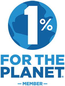 1% for the Planet Logo with Blue and White Earth