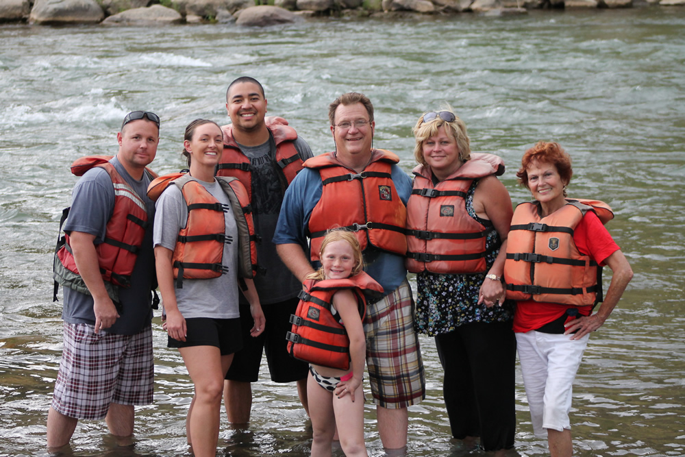 Family on whitewater rafting trip in Durango