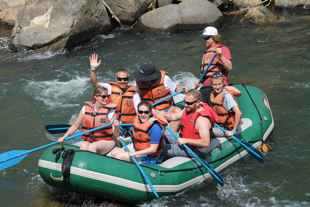 Family enjoying a Durango rafting trip
