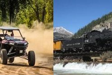 photo collage of RZR rental and steam train in the mountains