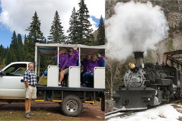 Train and jeep trail tour photo collage