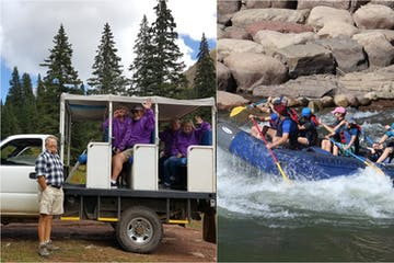 Rafting and jeep trail tour photo collage