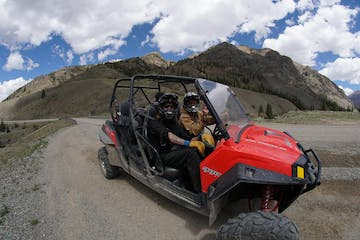 RZR rental parked on a trail in the rocky mountains