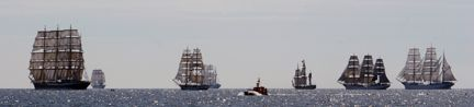 Six tall ships in the open sea