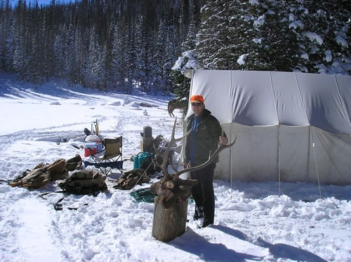 Snow in hunting camp