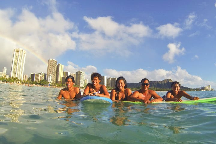 People on surfboards in Hawaii