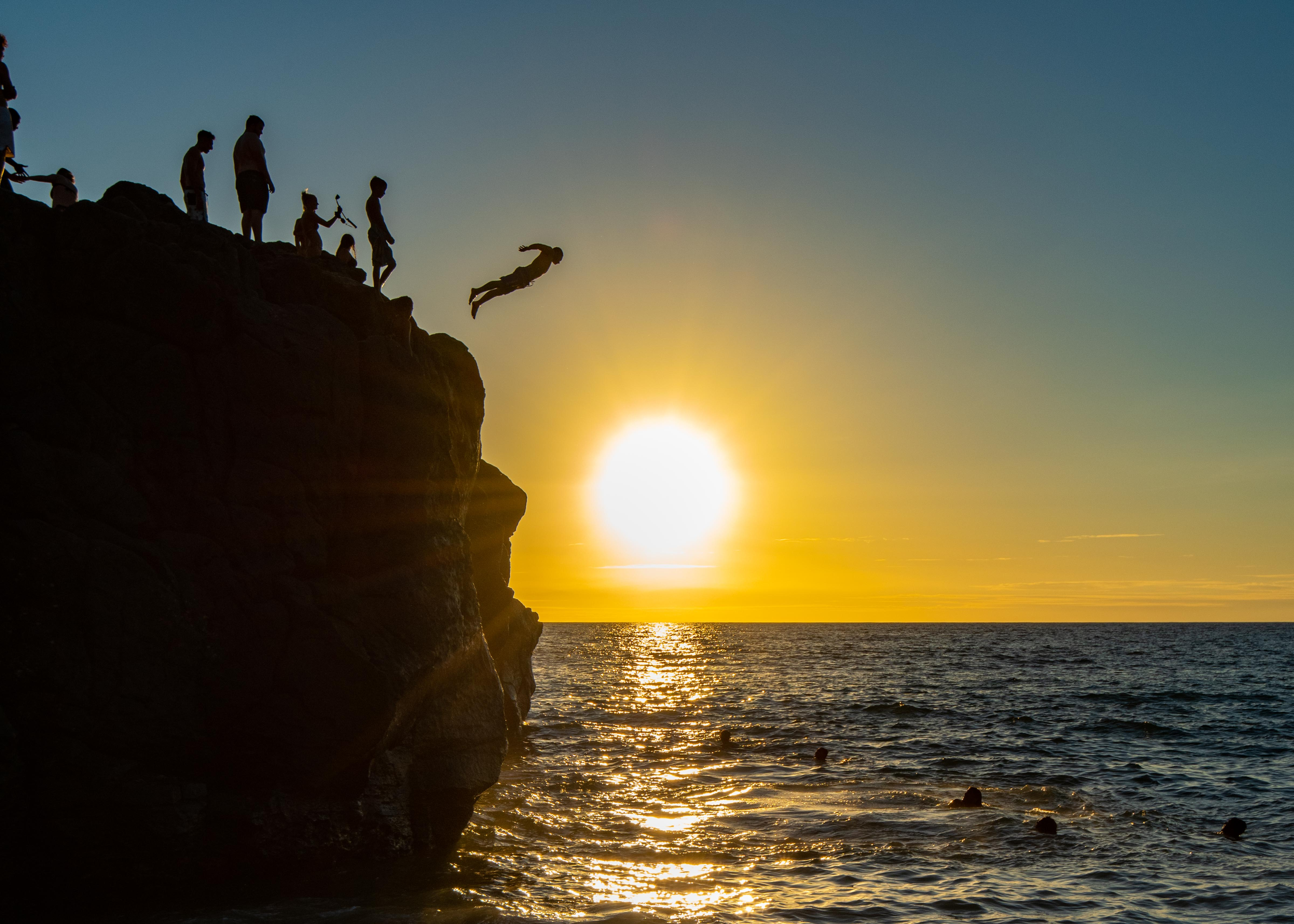 Jump Rock Waimea Bay Sunset Hawaii