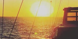 sunset on a boat