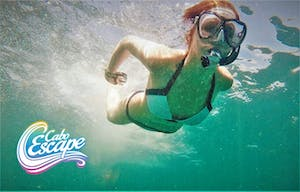 a person diving in water with snorkel gear