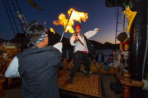 pirate show on a pirate boat