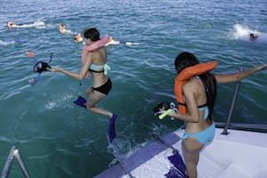 a group of people snorkeling