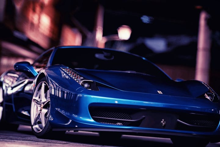 Blue Ferrari.