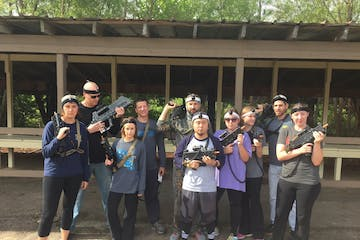 a group playing laser tag
