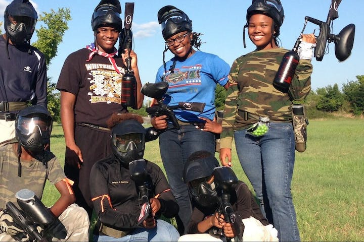 a group with paintball guns