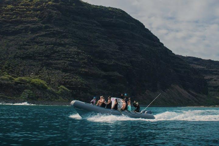 The zodiac boat along the coast