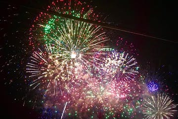A cluster of Waikiki Friday Fireworks