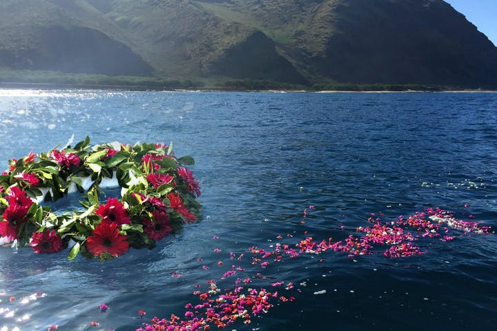 Floating floral memorial for a deceased loved one