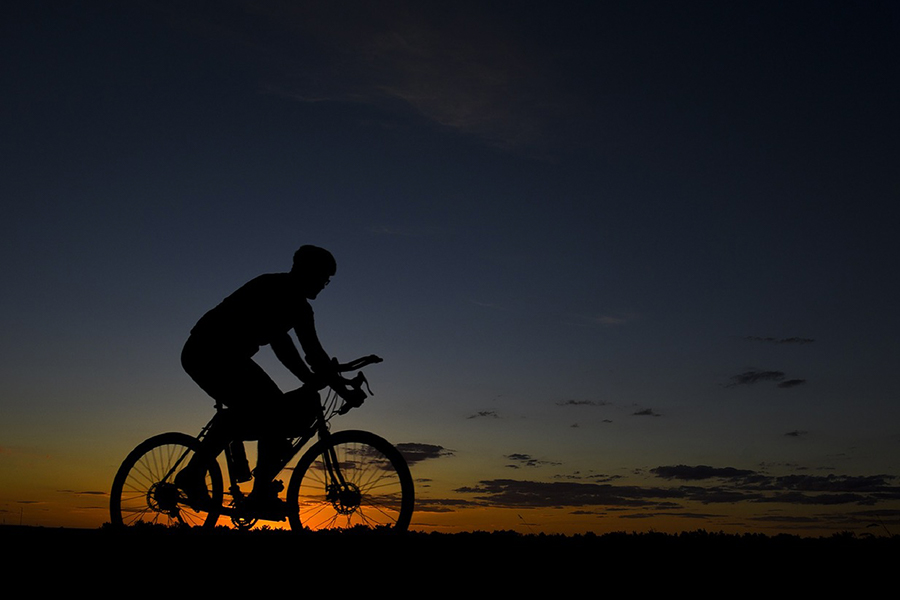 road bike and sunset