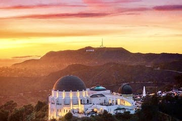 griffith observatory in los angeles at sunset