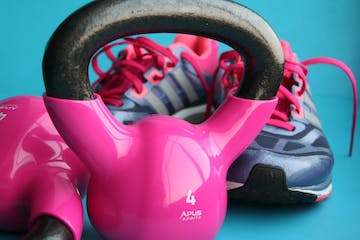 kettlebells and sneakers