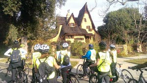 A group of bikes in front of witch's house