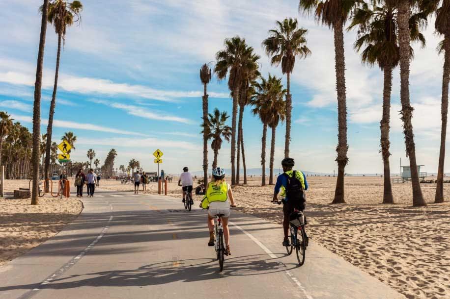 Biking along the beach in LA