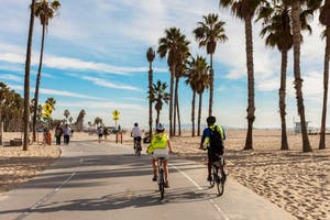 Biking along the beach in LA