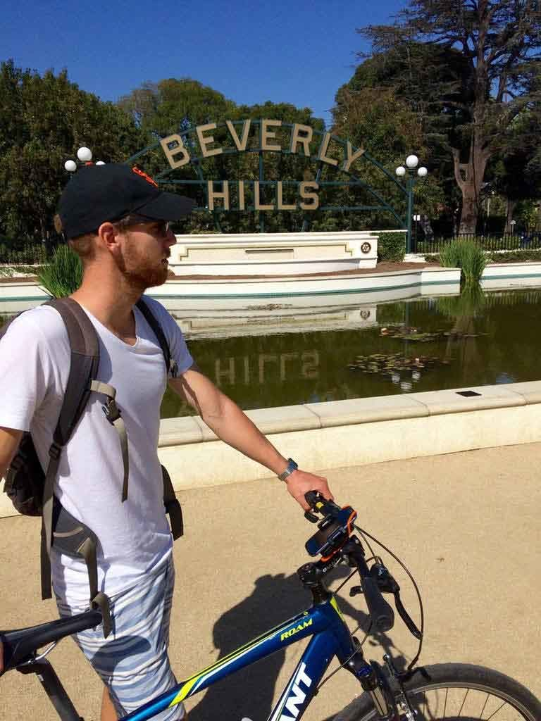 Man on Bike Tour in Beverly Hills