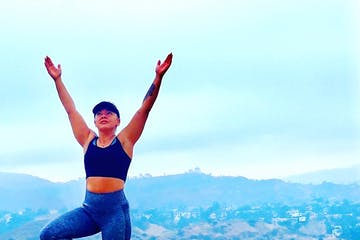 girl doing yoga hollywood hills