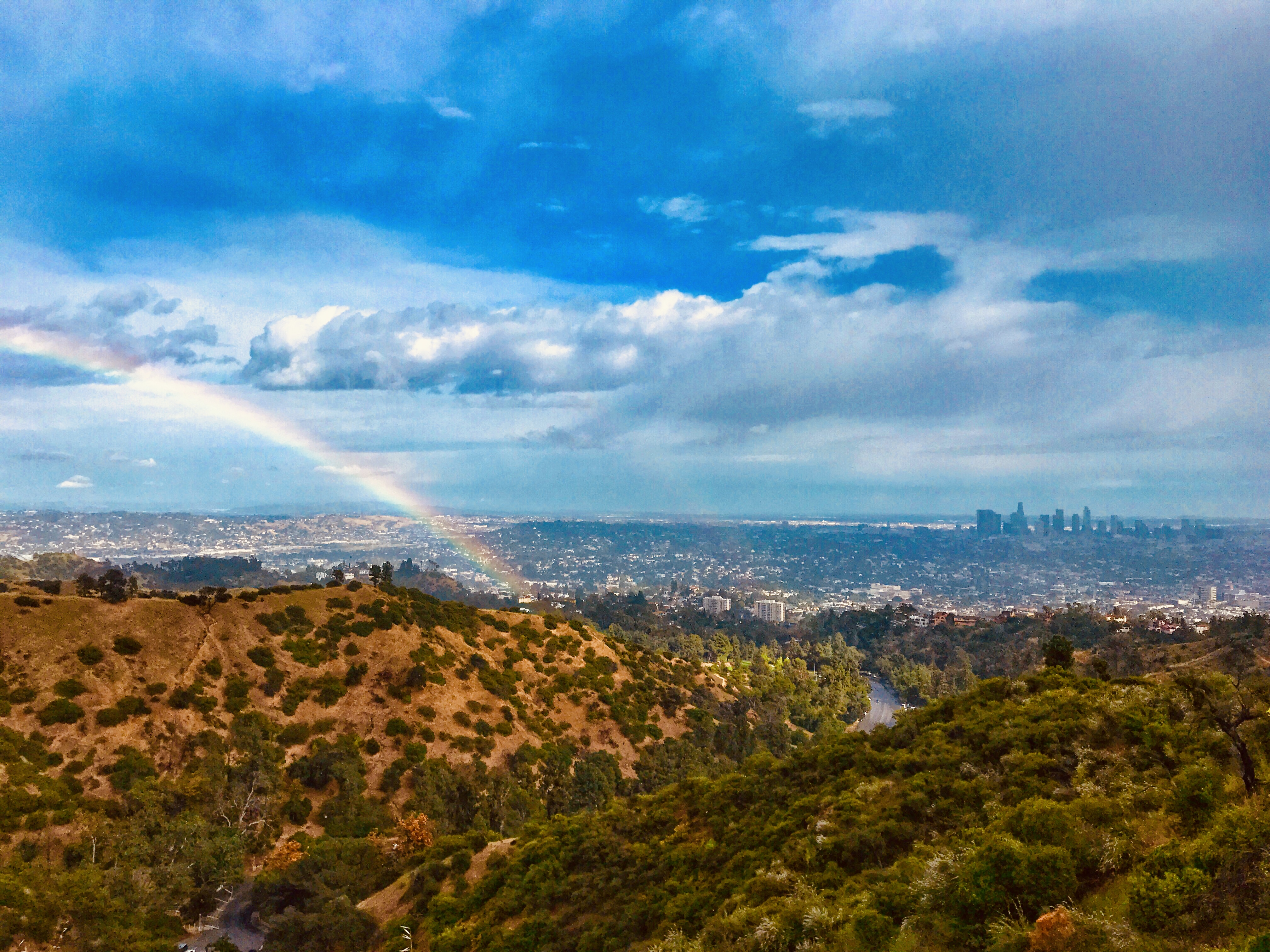 a rainbow in the hollywood hills