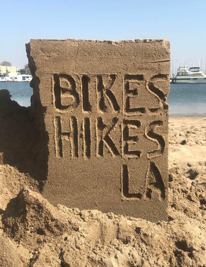 Bikes & Hikes LA sand scultpure