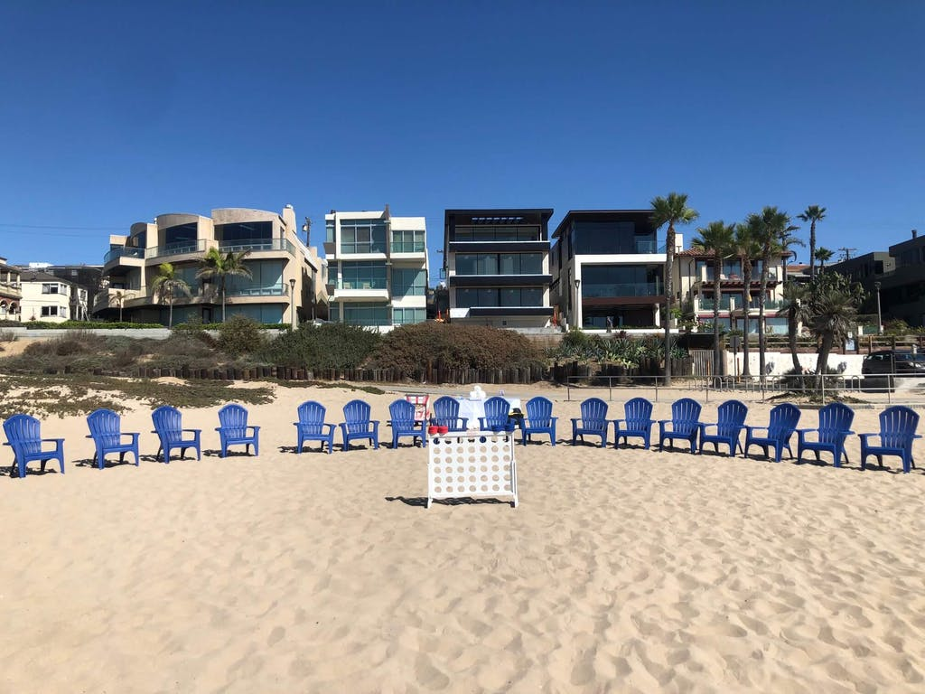 beach chairs lined up on beach