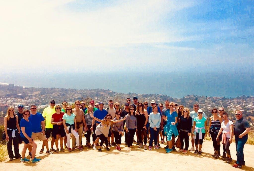 large group on LA hike