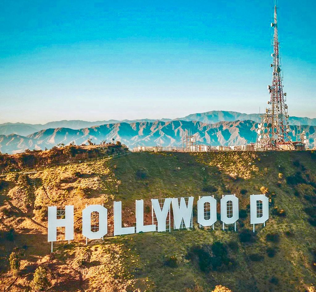 a close up of Hollywood Sign