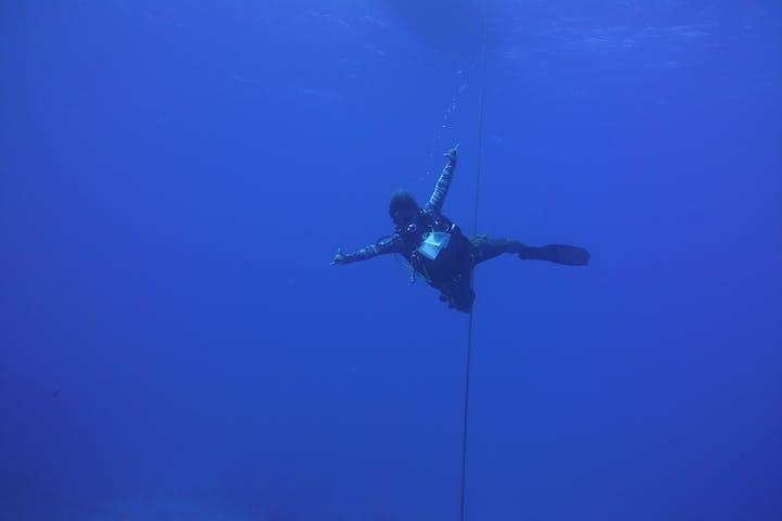 Lone scuba diver underwater