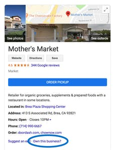 "Google My Business ""own this business?"" example"
