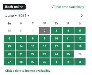 screenshot of embedded calendar on affiliate site