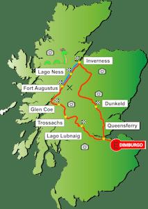Mapa Tour Lago Ness & Inverness