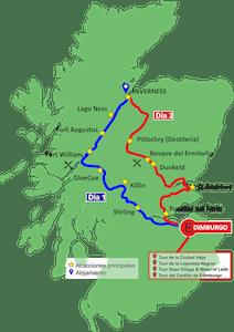 Mapa de ruta Escocia 2 días 1 noche