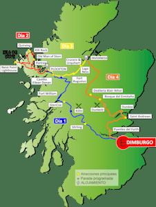 Mapa Escocia - Tour Español
