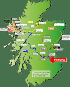 Mapa Escocia - Tour en español