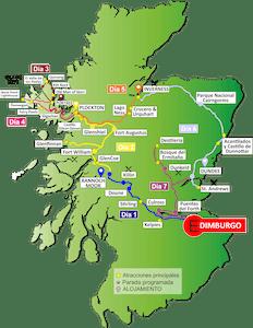 Mapa Escocia - Tour Highlands