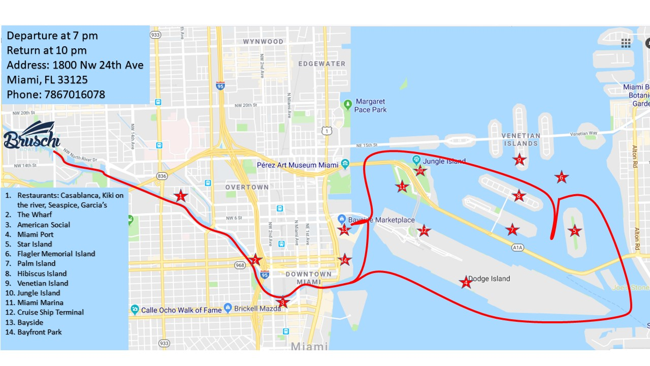 Boat route of the Miami at night tour