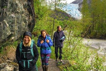 trekkers walking through wilderness