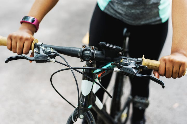 Close-up of bike handlebars