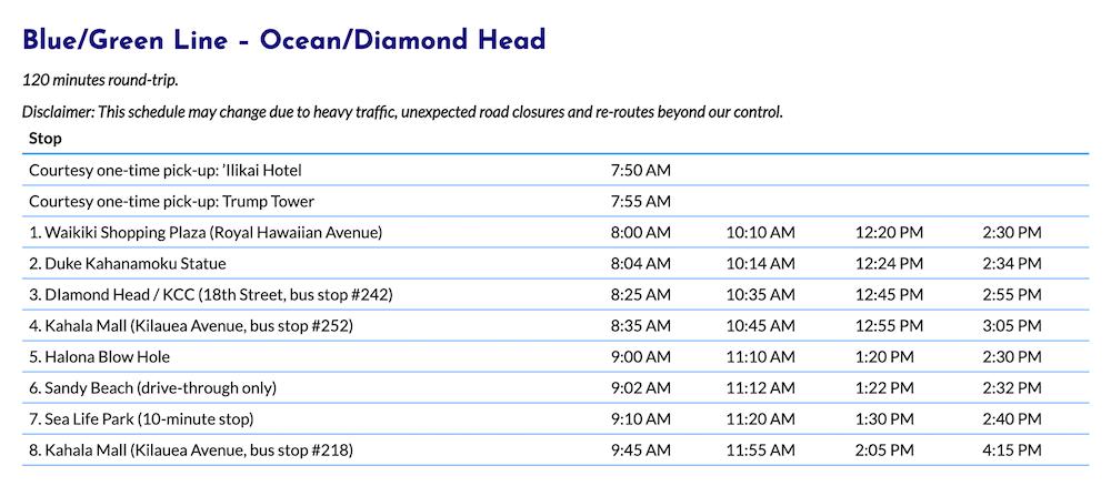 Blue Line Schedule