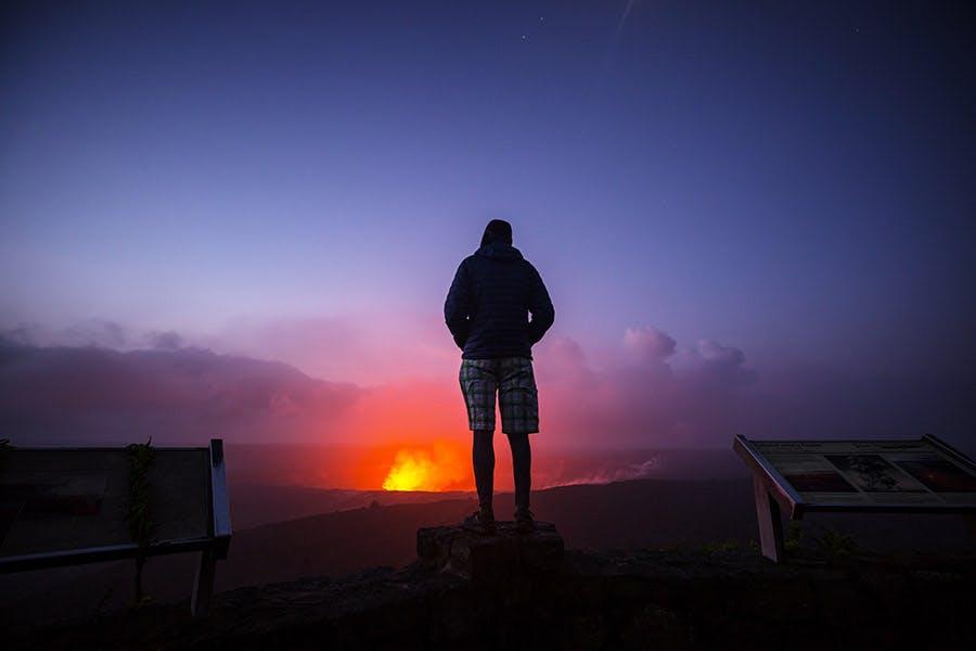 Visitor at Halemaumau Crater