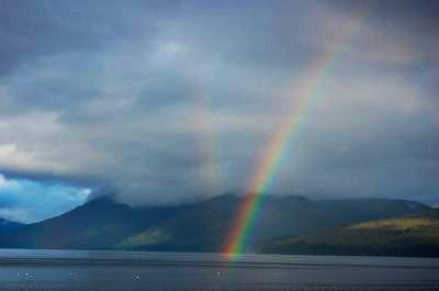 A double rainbow in Hoonah Alaska