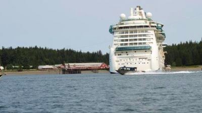 A cruise ship docked in Icy Strait Point