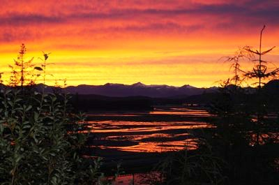A bright yellow and orange sunset in Alaska